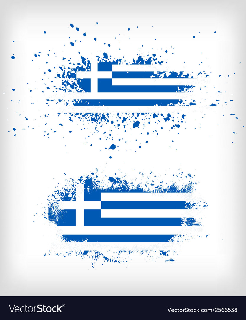 Grunge greek ink splattered flag vector | Price: 1 Credit (USD $1)
