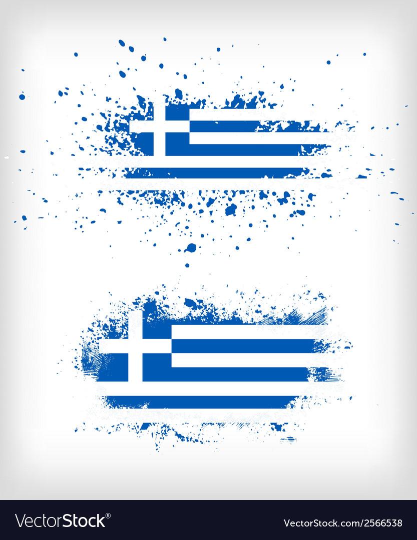 Grunge greek ink splattered flag vector | Price: 1 Credit (USD $1)
