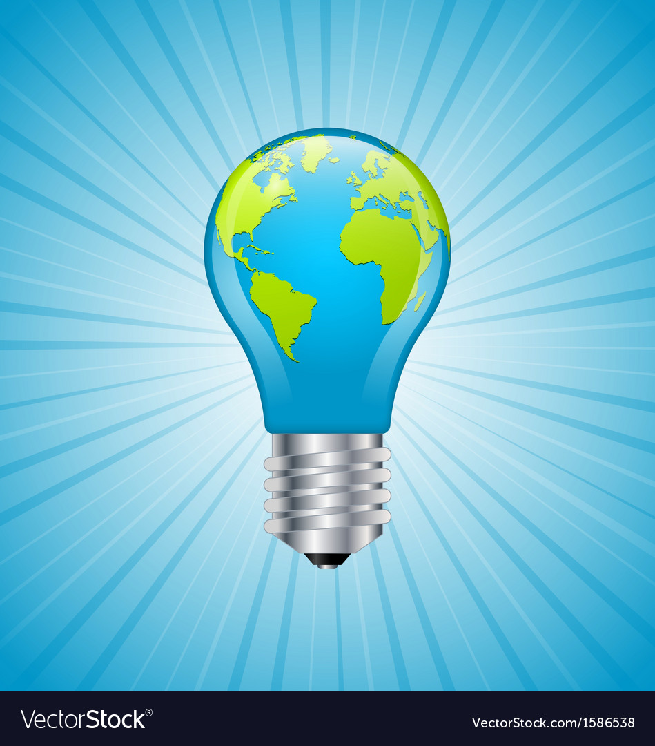 Light bulb earth icon vector | Price: 1 Credit (USD $1)