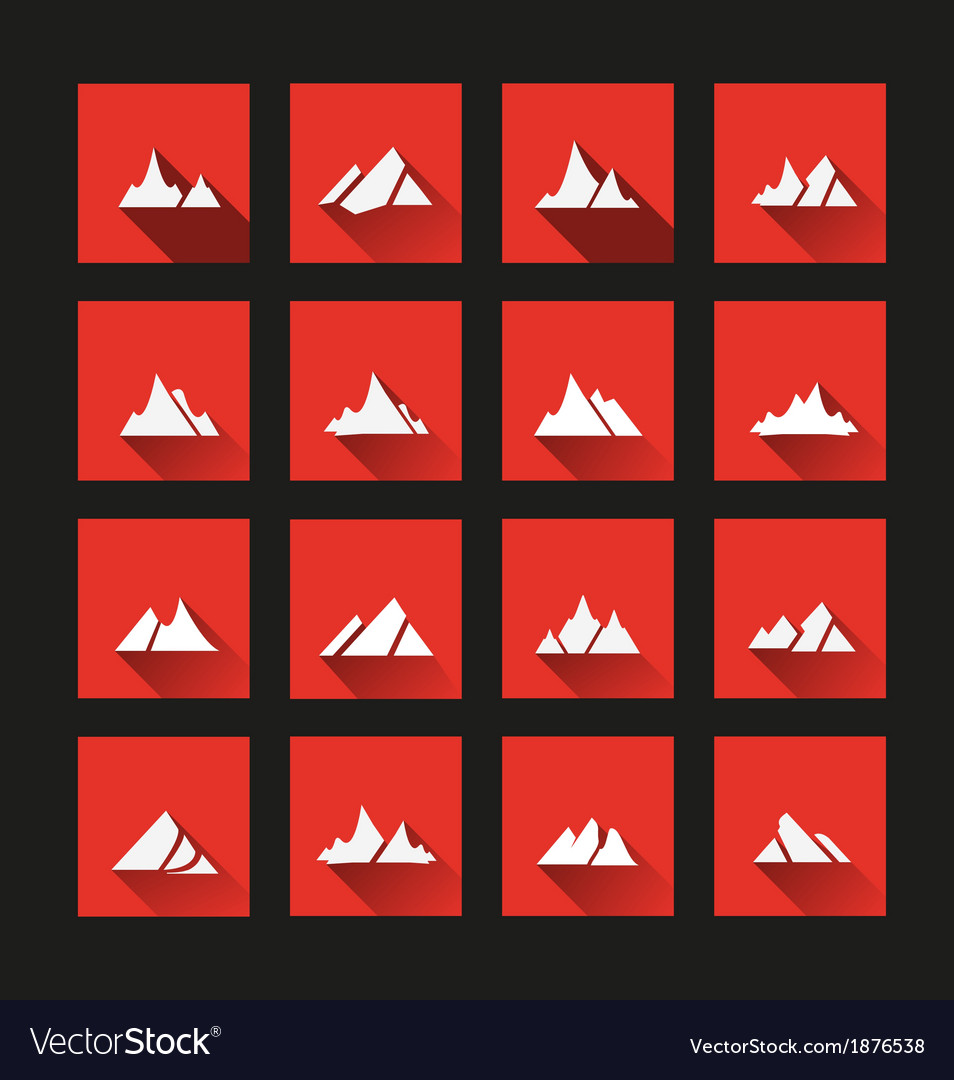 Mountain icons long shadow vector | Price: 1 Credit (USD $1)