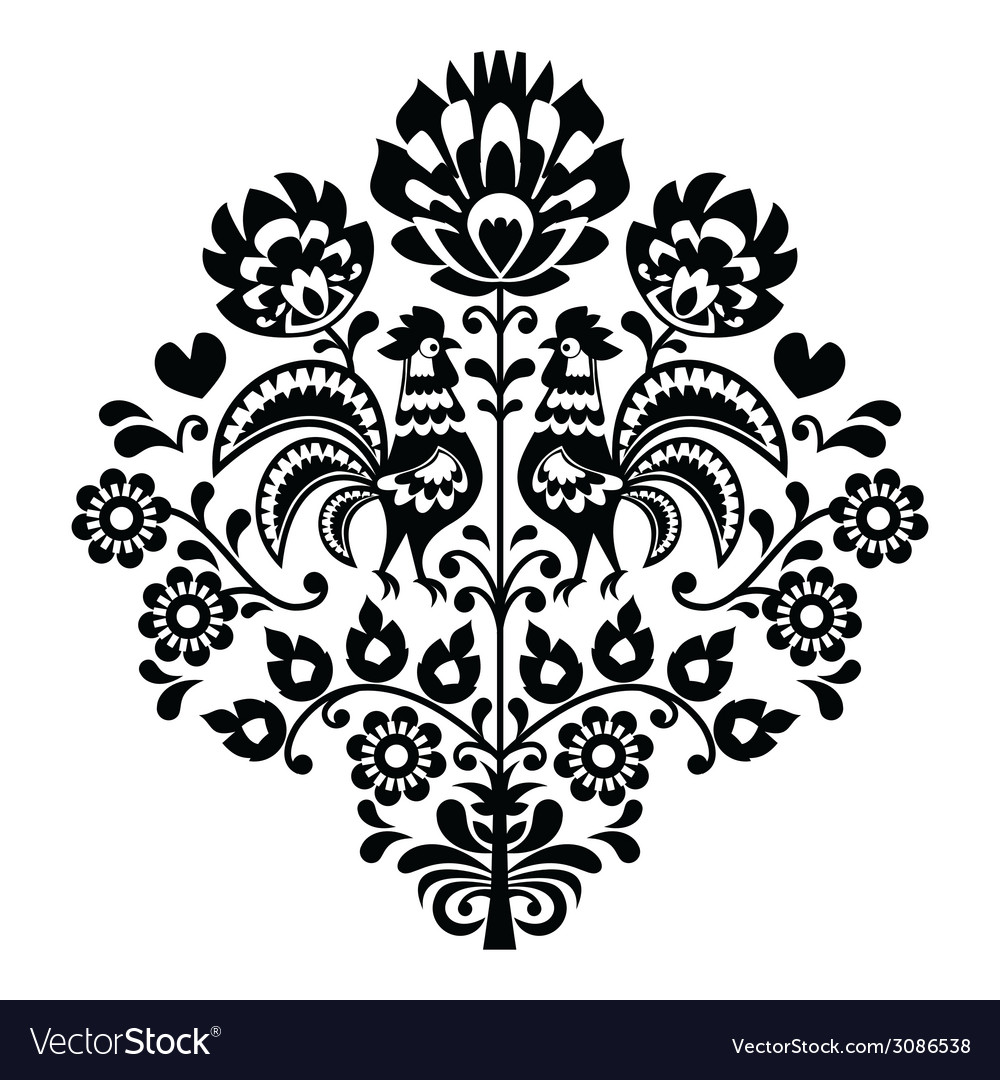 Polish folk art black pattern on white - wycinanka vector | Price: 1 Credit (USD $1)