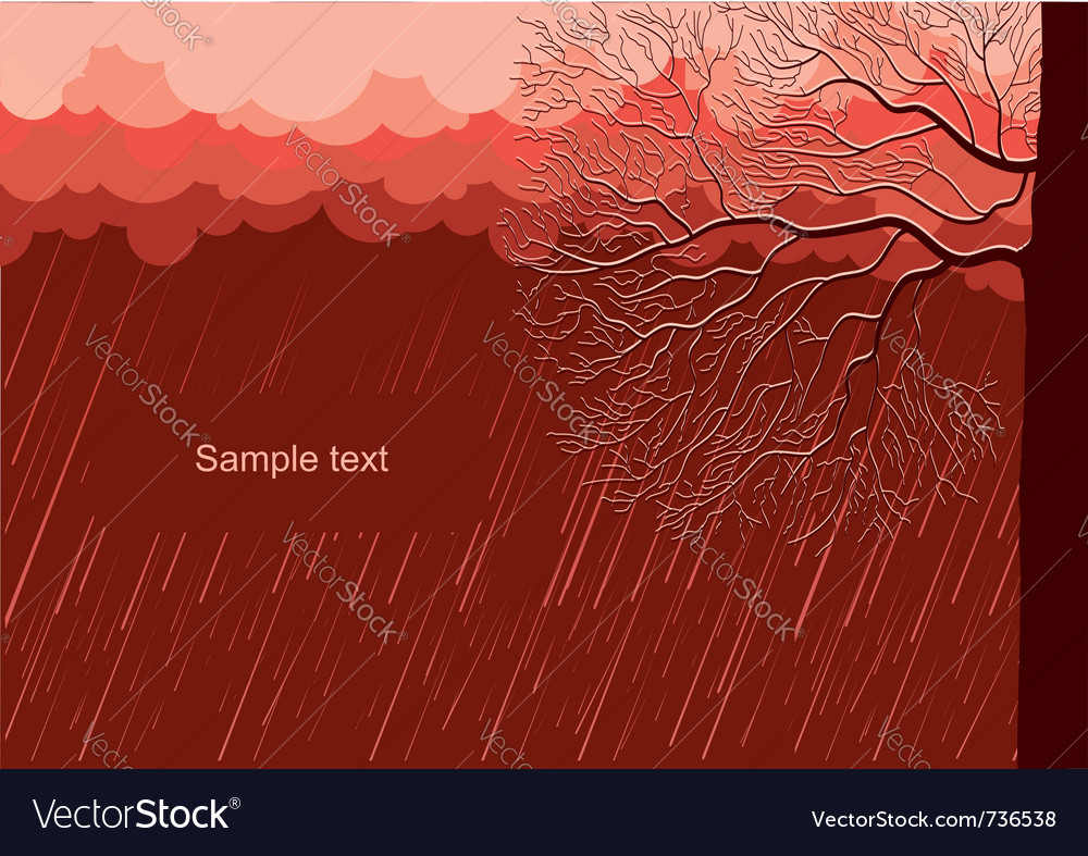 Raining nature landscape with tree in evening back vector | Price: 1 Credit (USD $1)