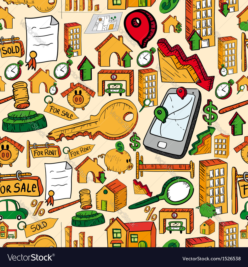 Real estate icons seamless pattern vector | Price: 1 Credit (USD $1)