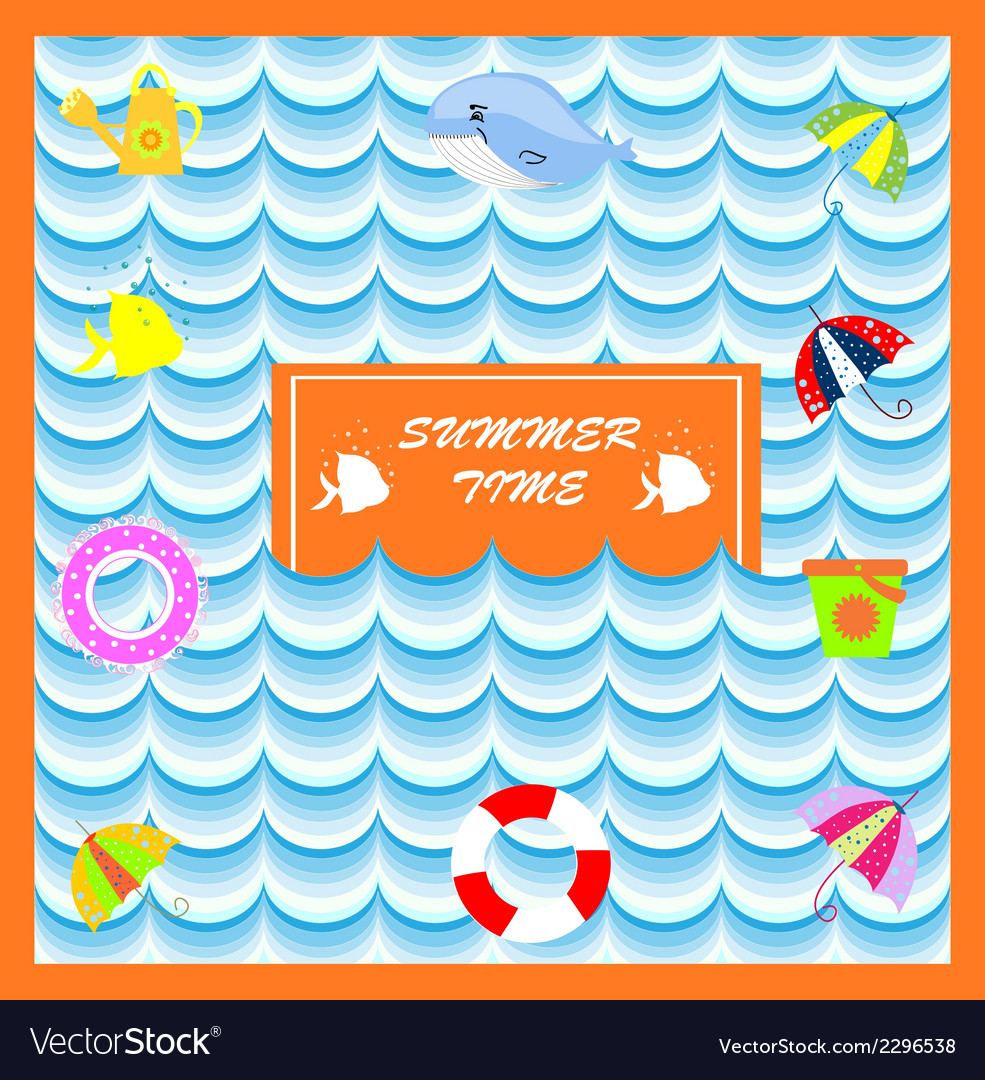 Summer card with lifeline vector | Price: 1 Credit (USD $1)