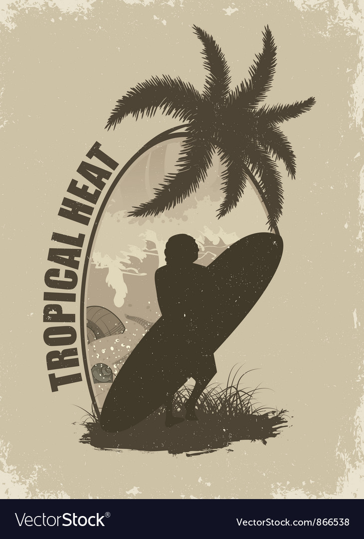 Summer grunge background with surfer vector | Price: 1 Credit (USD $1)