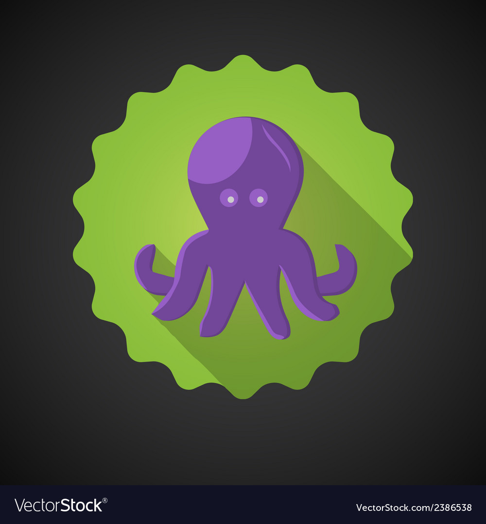 Summer travel sea octopus squid flat icon vector | Price: 1 Credit (USD $1)
