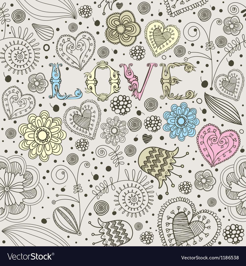 Valentines card flowers seamless pattern vector | Price: 1 Credit (USD $1)