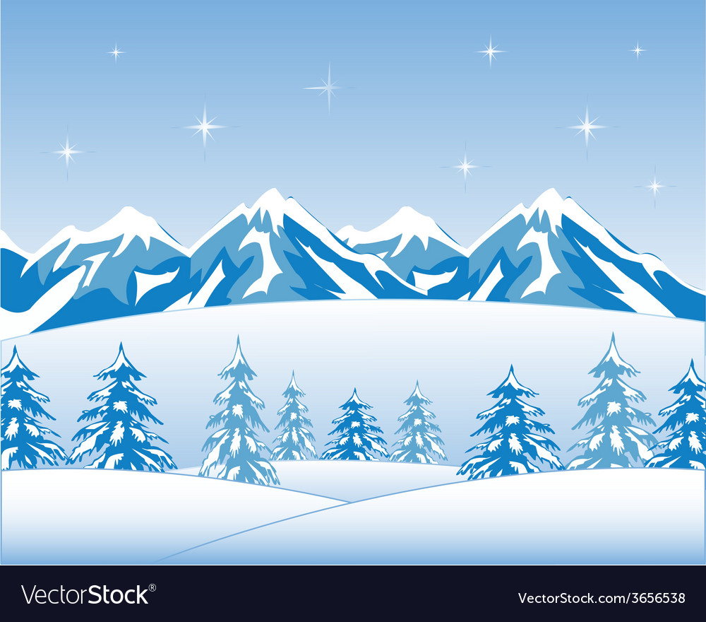 Winter wood and mountains vector | Price: 1 Credit (USD $1)