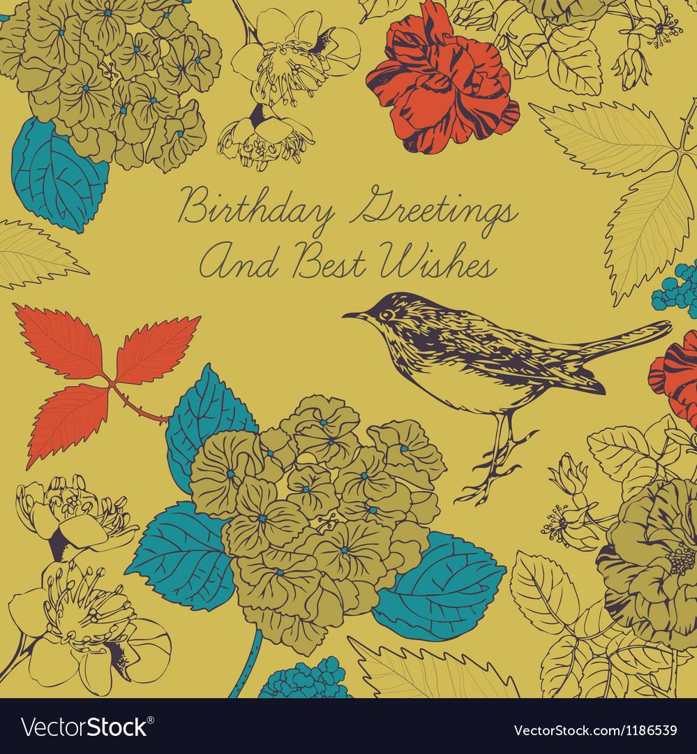 Birthday card bird and flowers vector | Price: 1 Credit (USD $1)