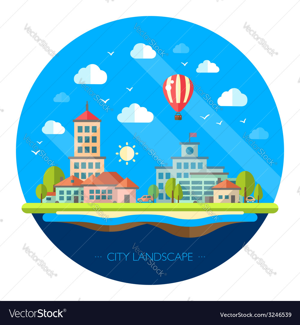 Flat design urban landscape vector   Price: 1 Credit (USD $1)
