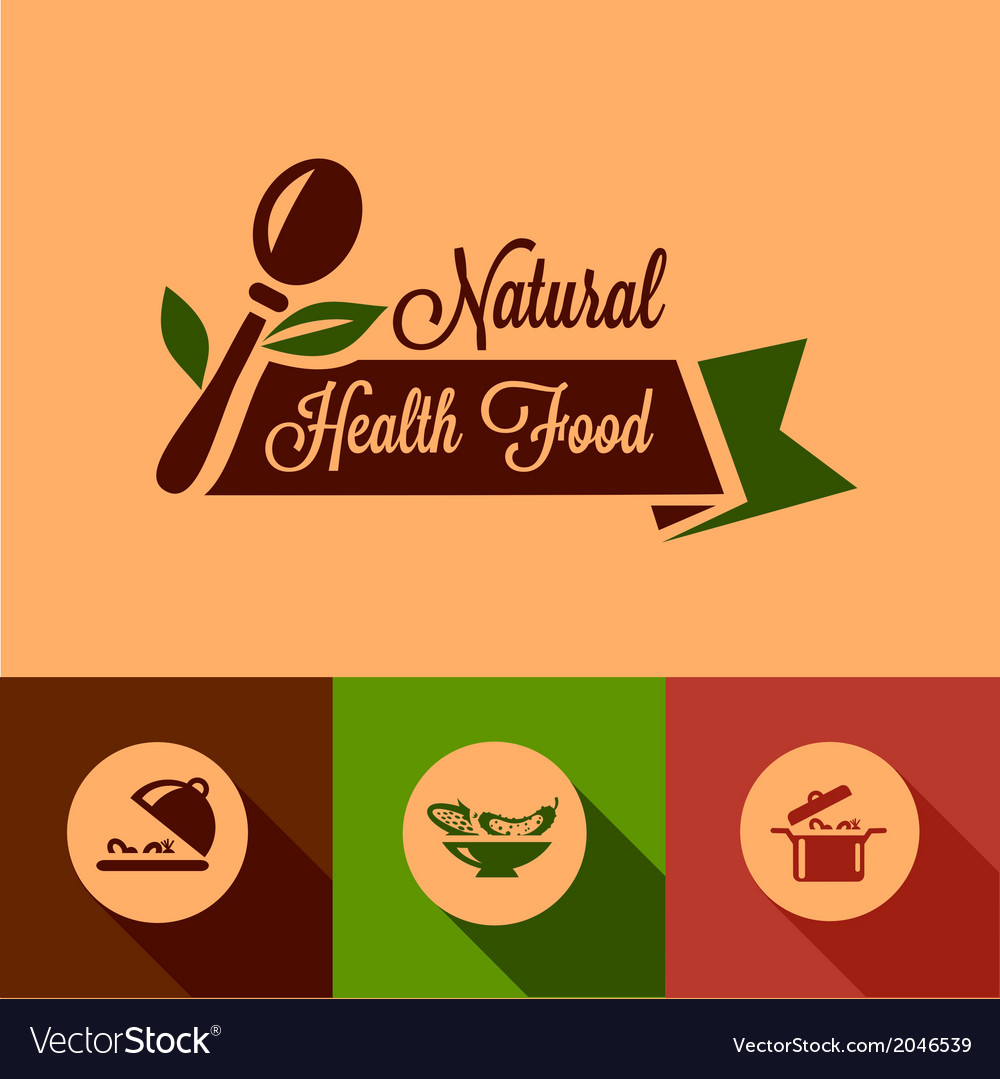 Flat natural food design elements vector | Price: 1 Credit (USD $1)