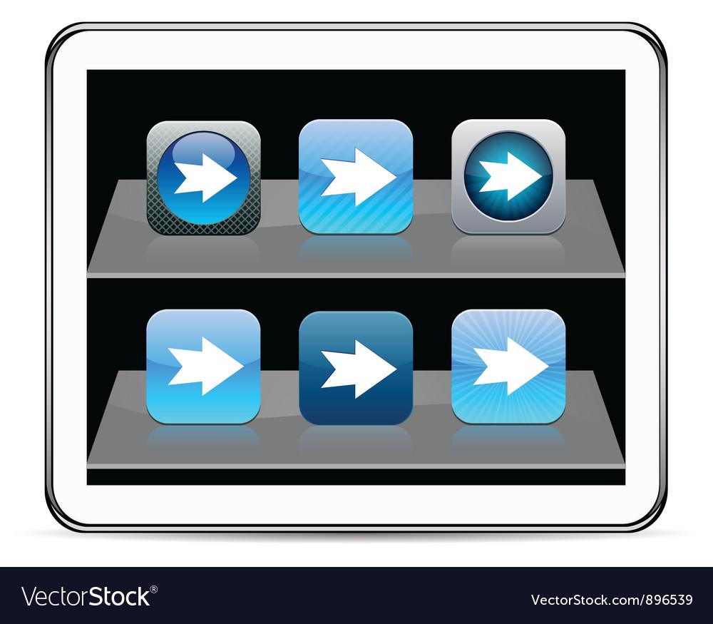 Forward arrow blue app icons vector | Price: 1 Credit (USD $1)