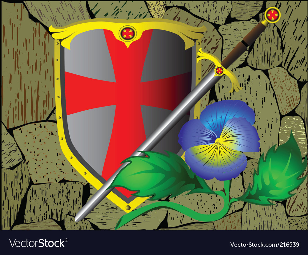 Knightly armour stone wall flower vector | Price: 1 Credit (USD $1)