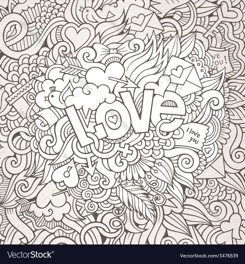 Love hand lettering and doodles elements sketch vector | Price: 1 Credit (USD $1)