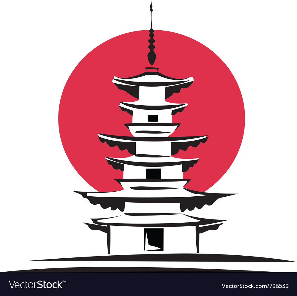 Pagoda sunrise japan architecture vector | Price: 1 Credit (USD $1)