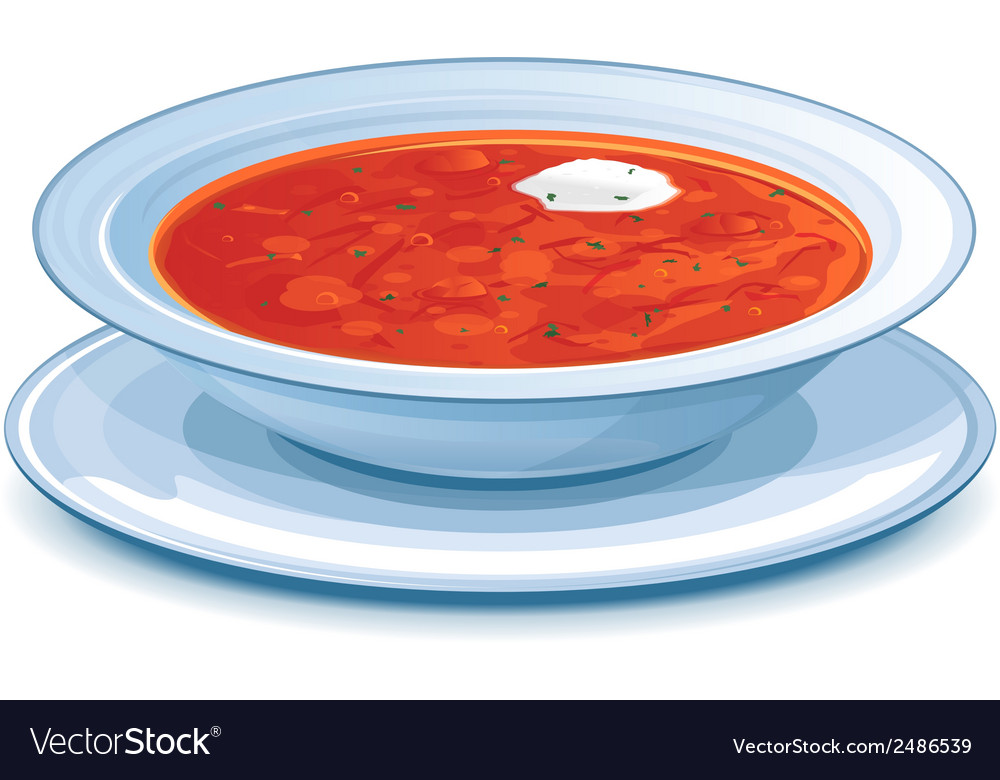Plate with red borscht vector | Price: 1 Credit (USD $1)