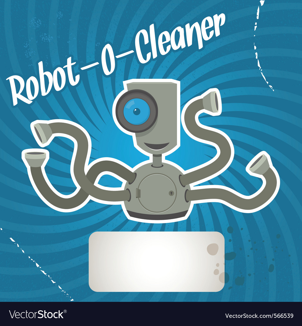 Robot cleaner vector | Price: 1 Credit (USD $1)