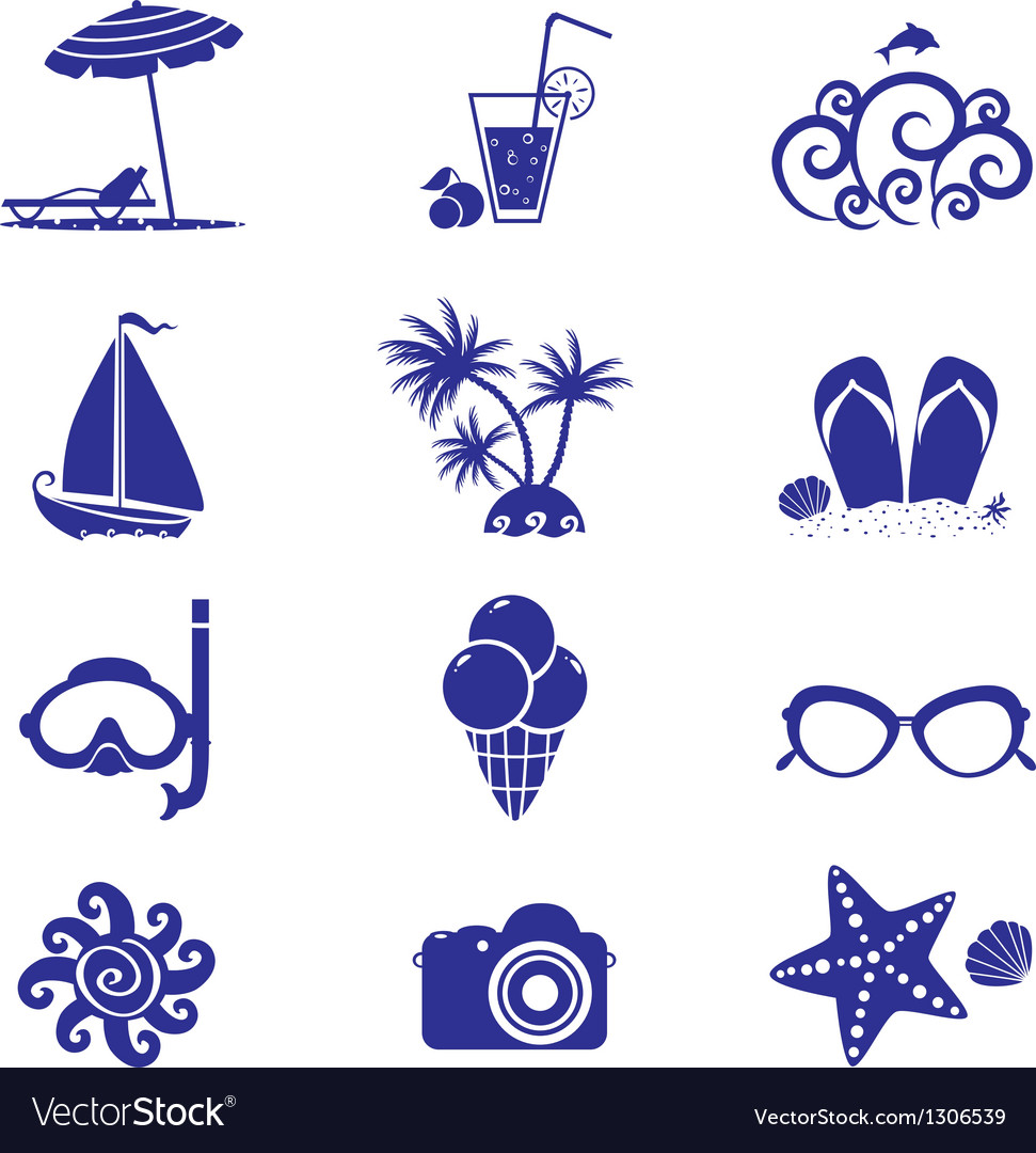 Summer icons blue vector | Price: 1 Credit (USD $1)