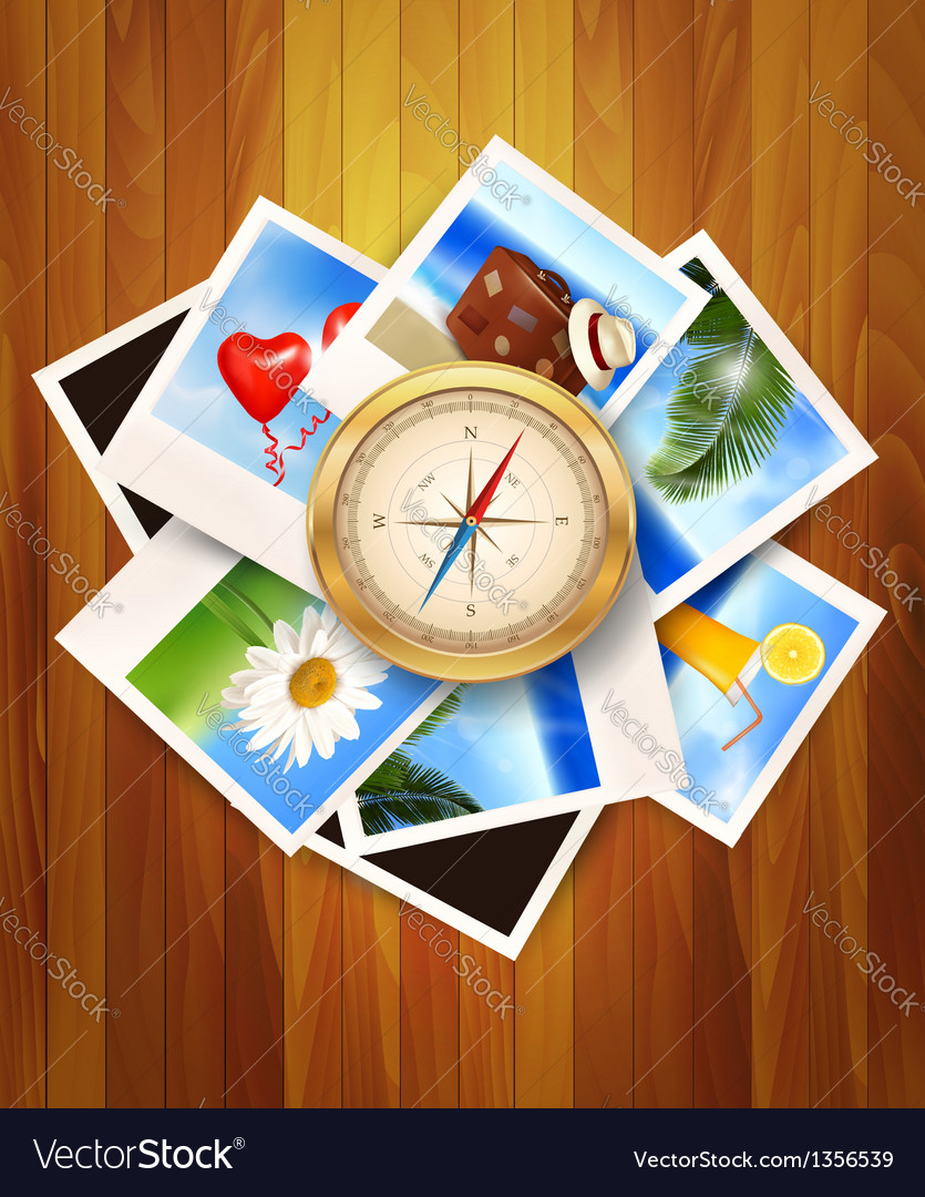 Travel photos and compass on wood background vector | Price: 3 Credit (USD $3)