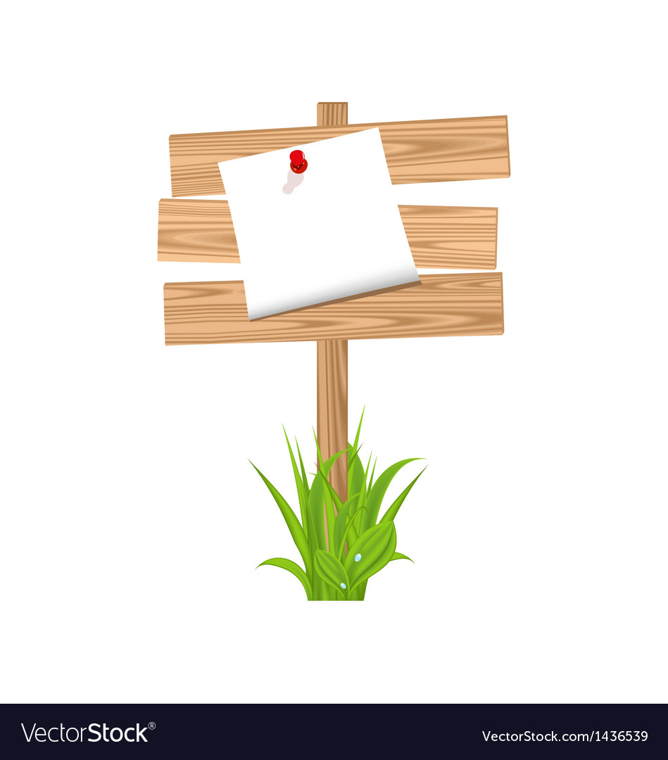 Wooden signpost with announcement grass vector | Price: 1 Credit (USD $1)