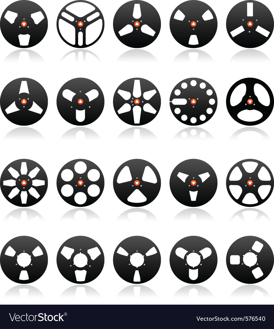 Analog stereo tape reels icon set vector | Price: 1 Credit (USD $1)