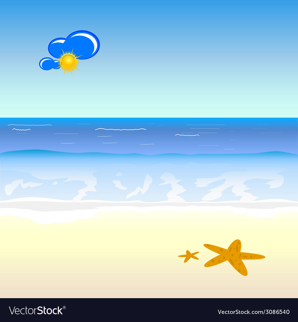 Beach cartoon art vector | Price: 1 Credit (USD $1)