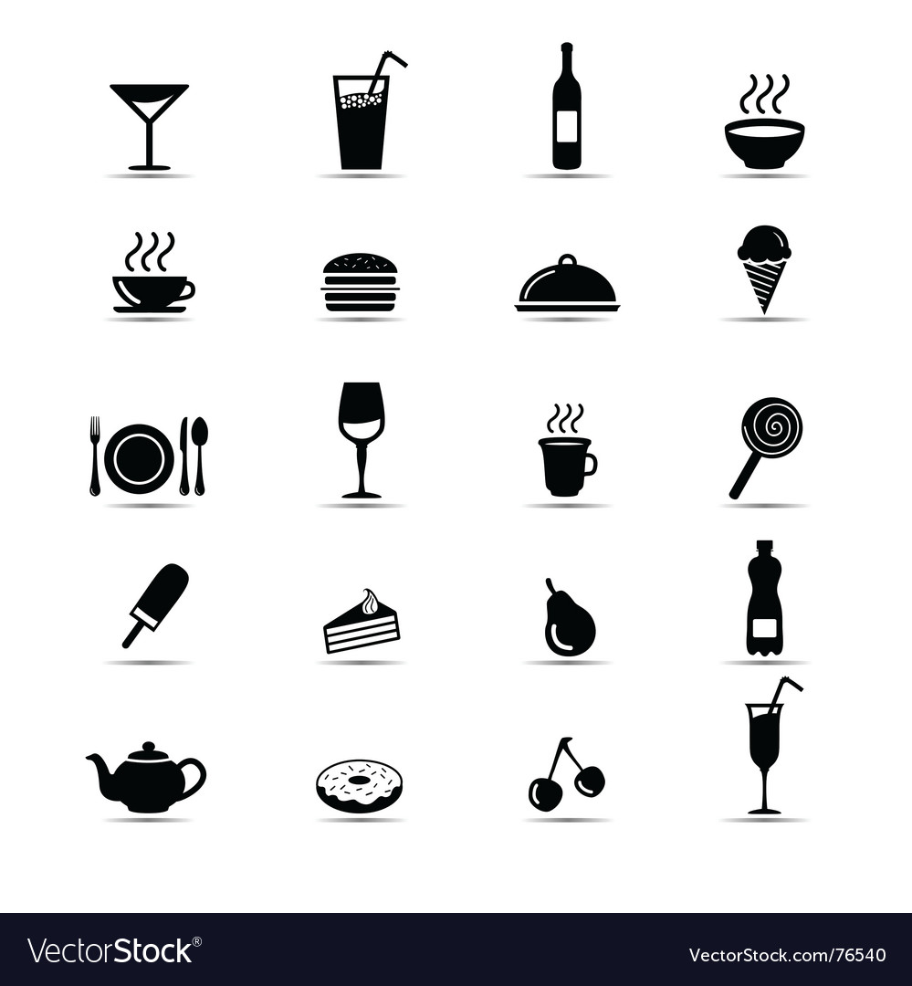 Black and white food icons vector | Price: 1 Credit (USD $1)
