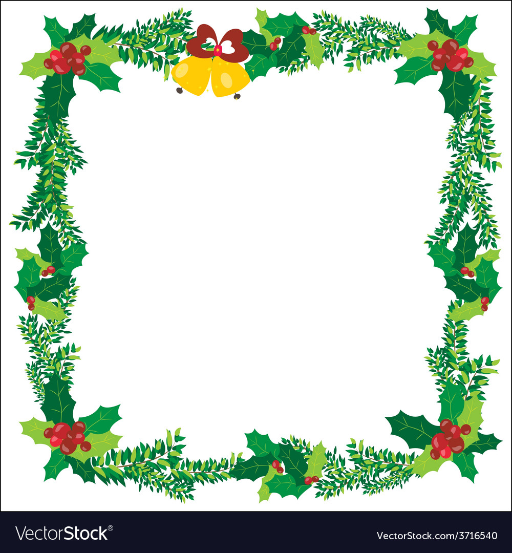 Christmas ornaments bells frame green vector | Price: 1 Credit (USD $1)