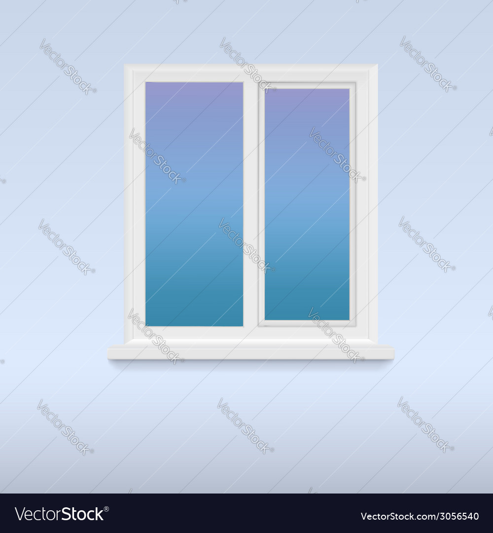 Closed white plastic window vector | Price: 1 Credit (USD $1)