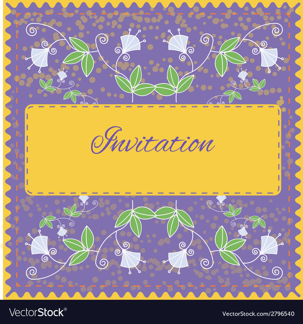 Invitation card with floral ornament vector | Price: 1 Credit (USD $1)