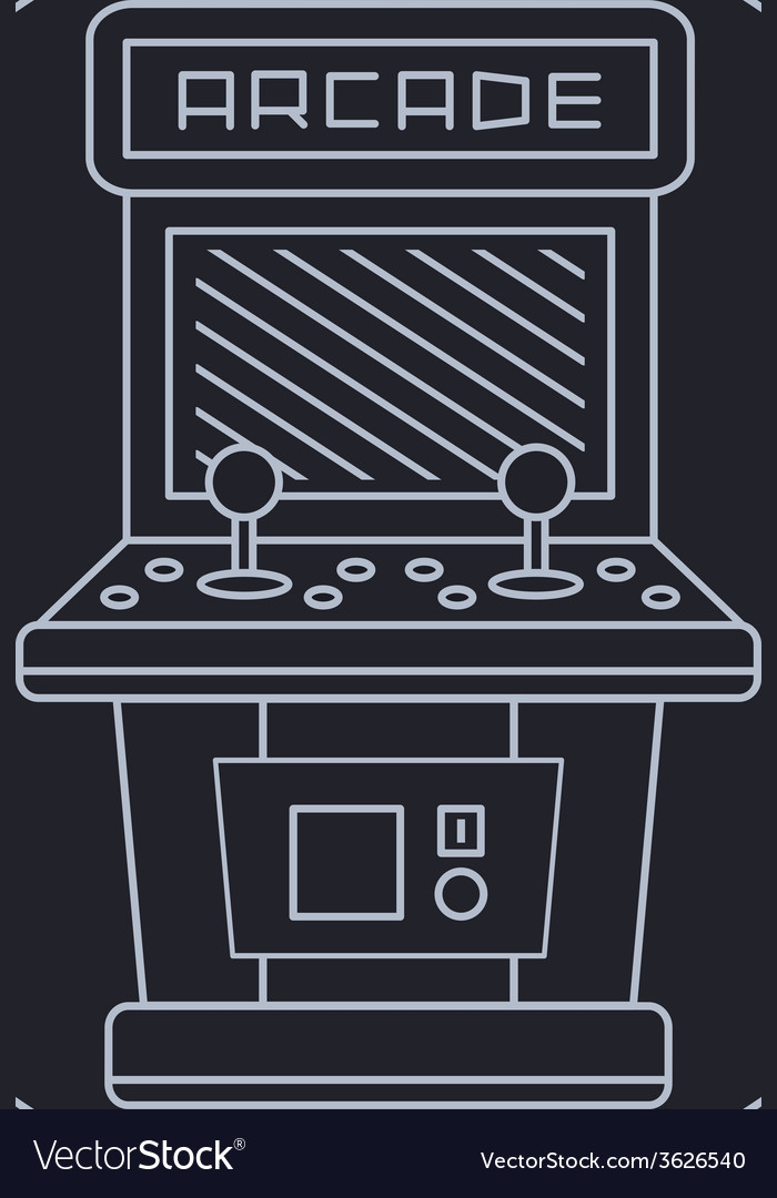 Pixel art style simple line drawing of arcade vector | Price: 1 Credit (USD $1)
