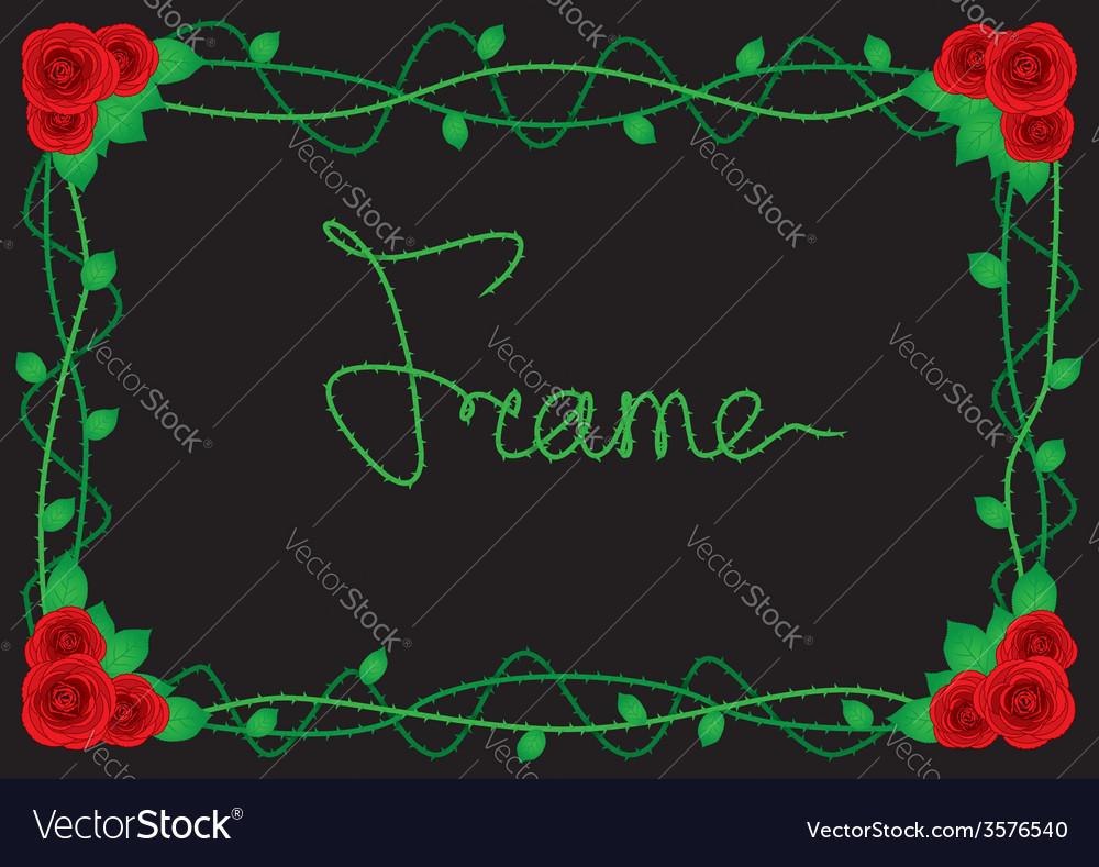 Rose border frame vector | Price: 1 Credit (USD $1)