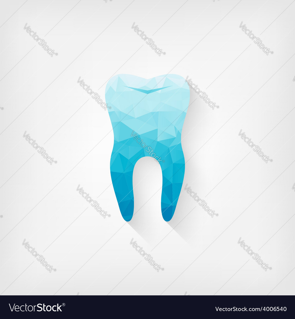 Tooth blue polygon symbol vector | Price: 1 Credit (USD $1)