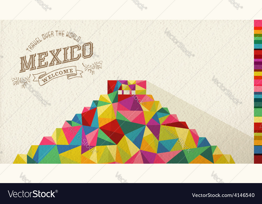 Travel mexico landmark polygonal monument vector | Price: 1 Credit (USD $1)