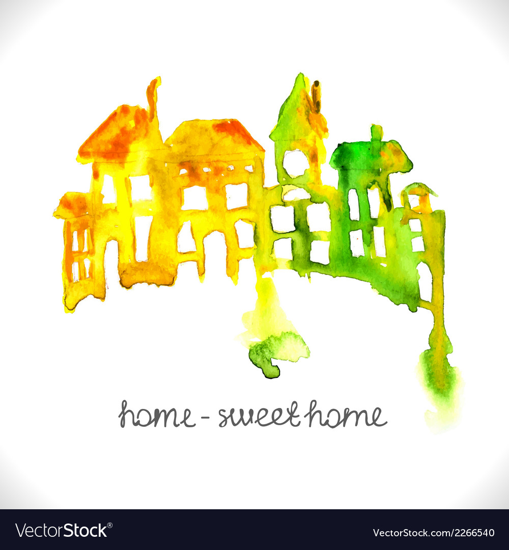 Watercolor beautiful homes vector | Price: 1 Credit (USD $1)