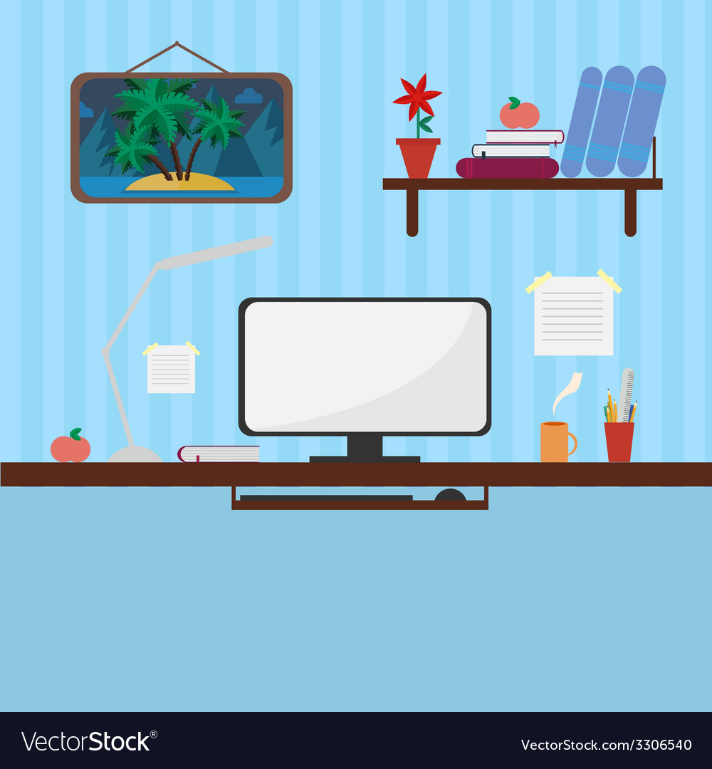 Workplace in style flat vector | Price: 1 Credit (USD $1)