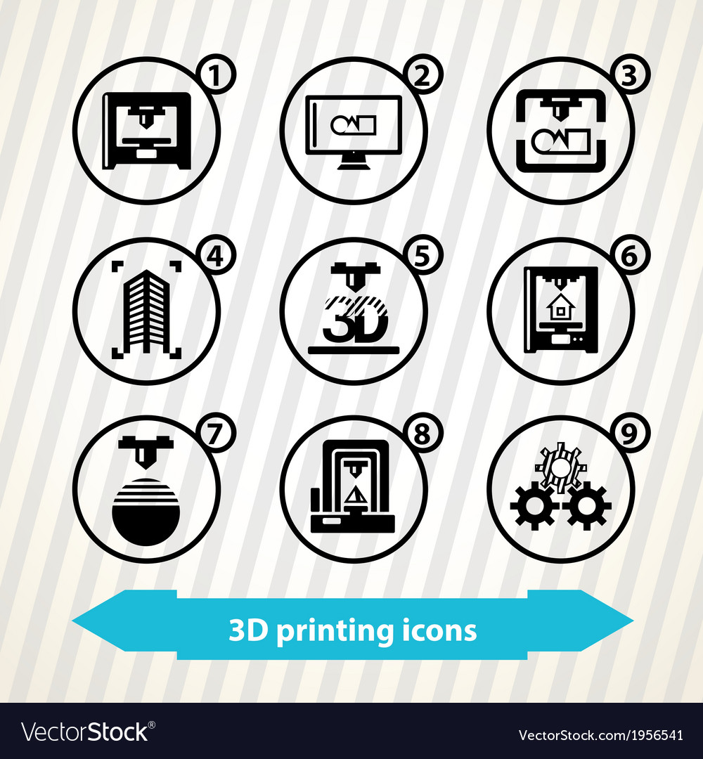 3d printing icons vector | Price: 1 Credit (USD $1)