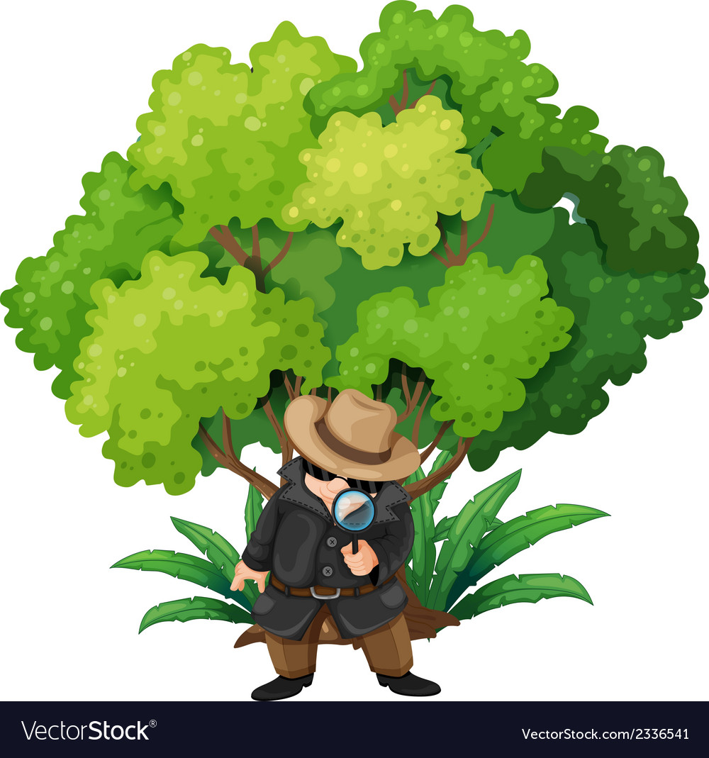 A detective near the big tree vector | Price: 3 Credit (USD $3)