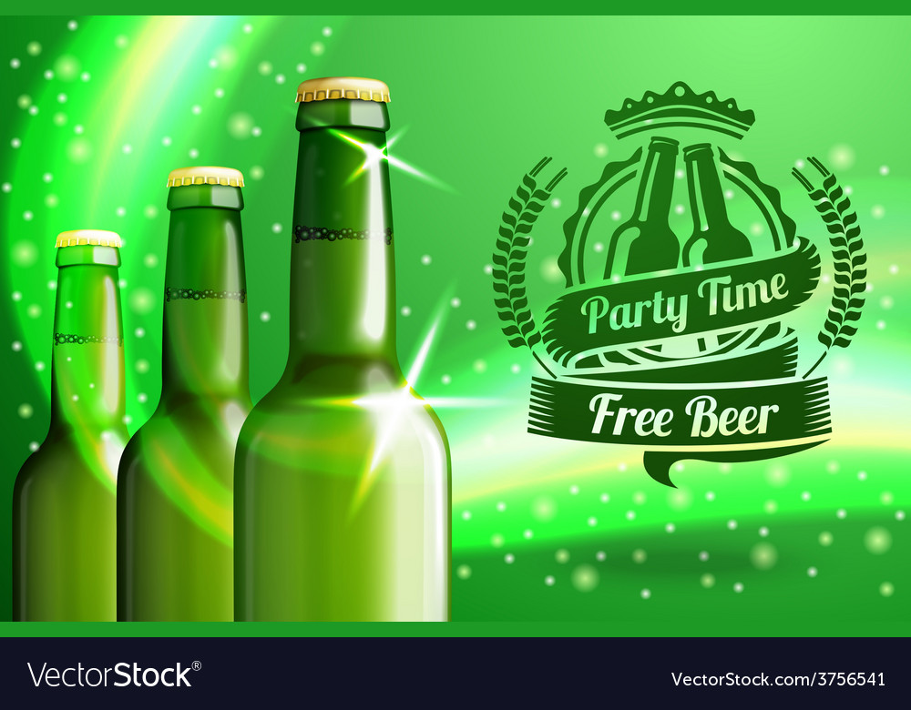 Banner for beer adwertisement with three realistic vector | Price: 3 Credit (USD $3)