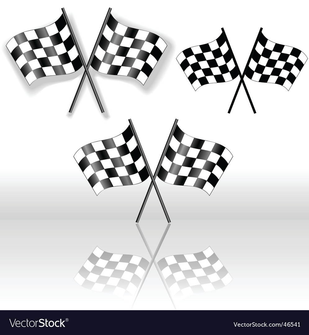 Checkered flags crossed vector | Price: 1 Credit (USD $1)