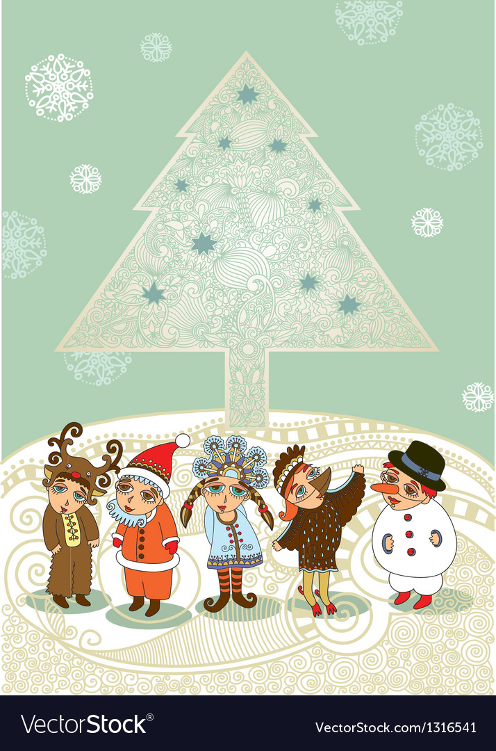 Children in fancy dress christmas card vector | Price: 3 Credit (USD $3)