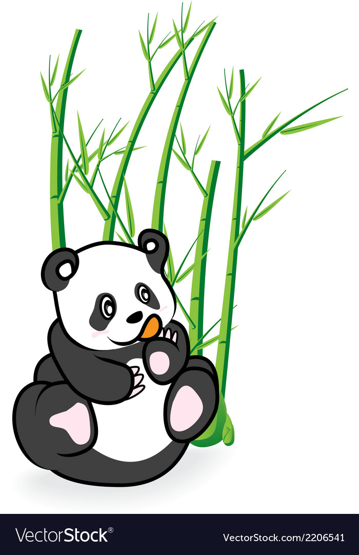 Cute panda bear in bamboo forrest 03 vector | Price: 1 Credit (USD $1)