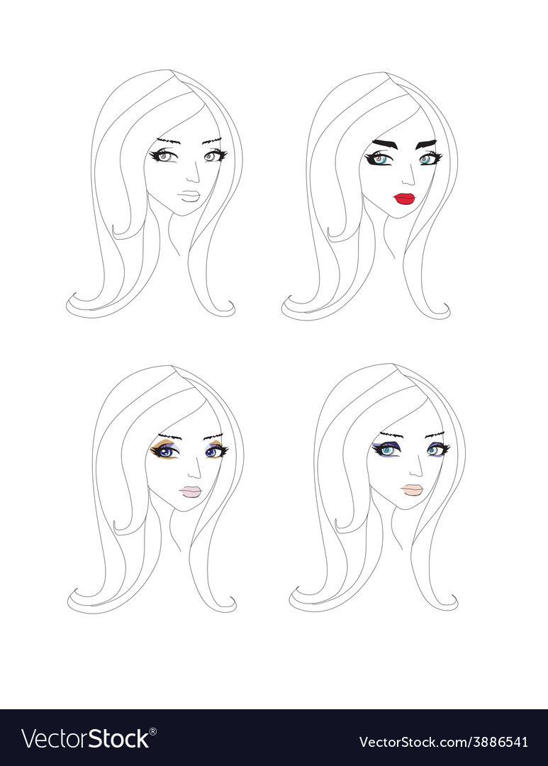 Doodle portrait of a girl different make-up vector | Price: 1 Credit (USD $1)