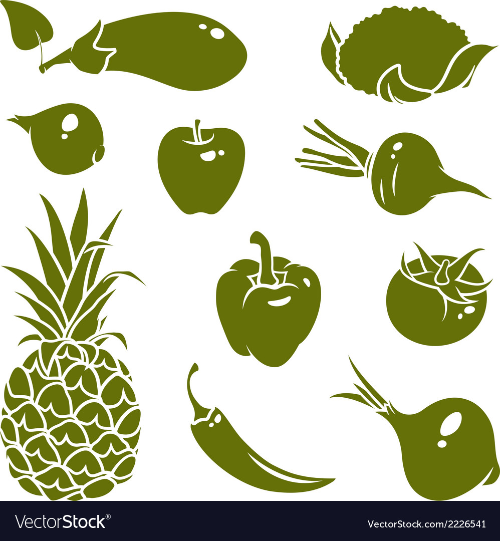 Fruits vegetables silhouettes vector | Price: 1 Credit (USD $1)