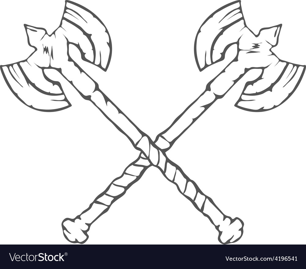 Hand drawn crossed battle axes isolated on white vector | Price: 1 Credit (USD $1)