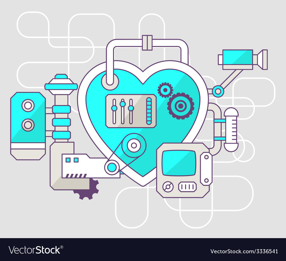 Industrial of the mechanism of heart color vector | Price: 1 Credit (USD $1)