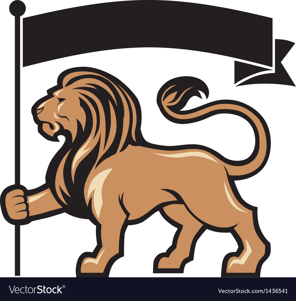 Lion mascot hold a flag vector | Price: 1 Credit (USD $1)