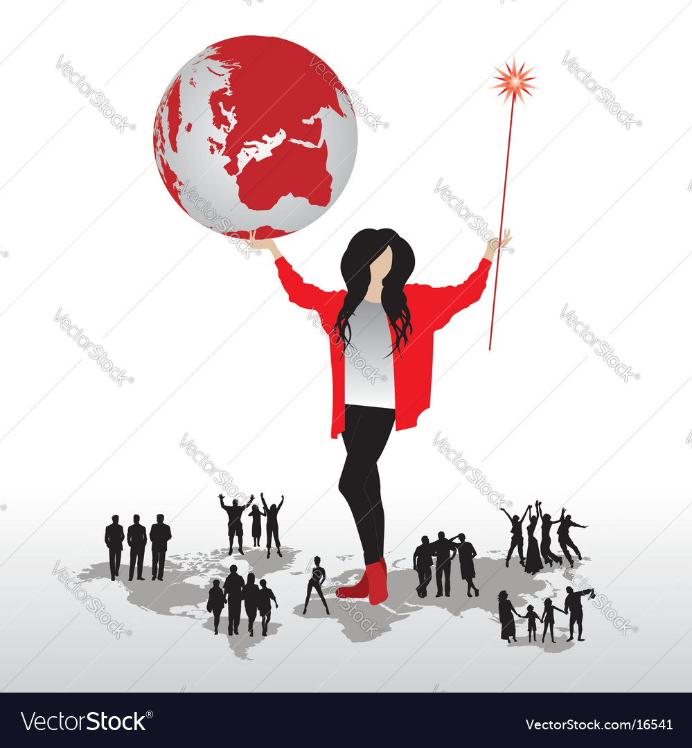 Magic woman with world map vector | Price: 3 Credit (USD $3)