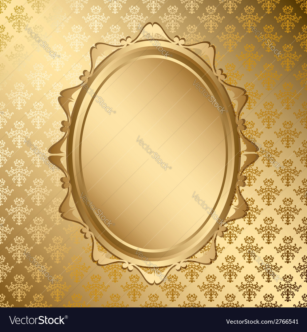 Oval golden frame on gold pattern vector | Price: 1 Credit (USD $1)