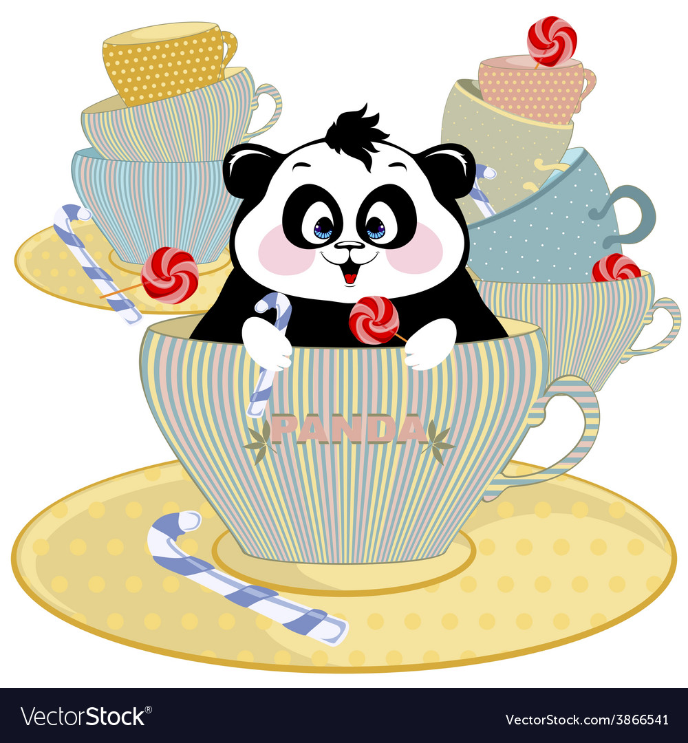 Panda in a mug with chocolates vector